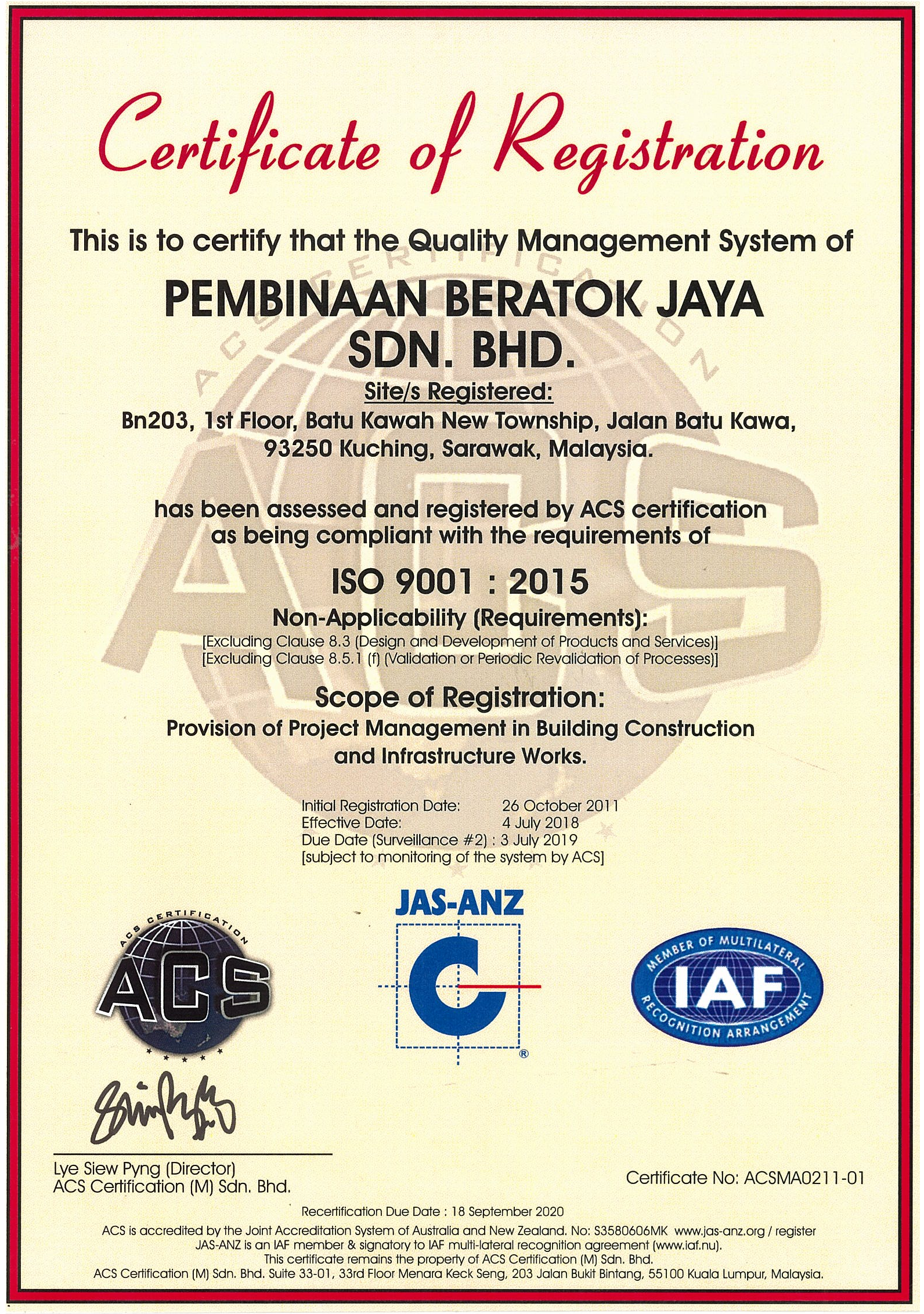 Certificate of Registration ISO 9001:2015