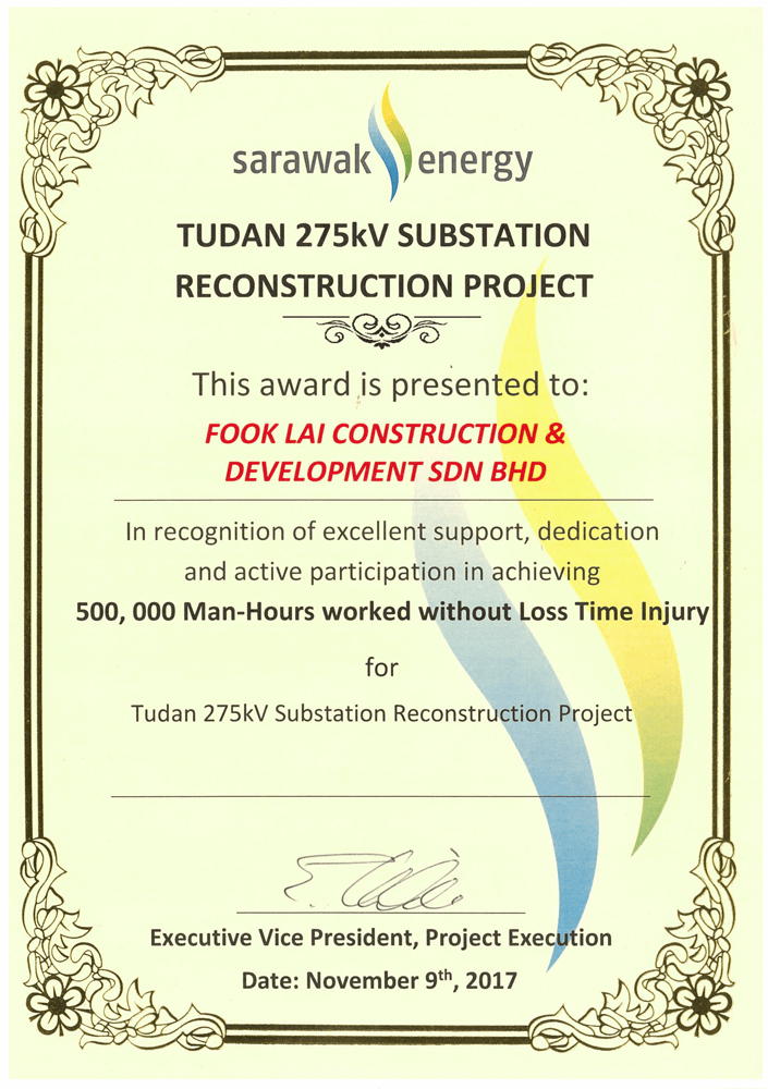 500,000 Man-Hours worked without Loss Time Injury Award